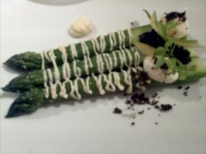 Asparagus with caviar.