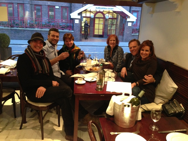Jeff Fahey, Mike and Kristi Rogers, Mary Grace Richardson, Petro (the owner of Santorini Restaurant in London) and Tillman Gilson.