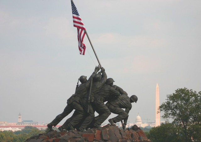 The Iwo Jima Marine Corp Memorial; image via commons.wikipedia.org