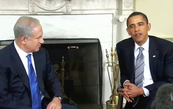 President Obama meets with Benjamin Netanyahu in 2009. / Wikipedia