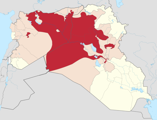 Red indicates areas that are controlled by ISIS as of Sept. 22, 2014. Image via Wikipedia.
